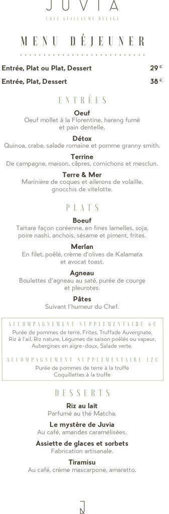 Menu déjeuner Juvia 16 Novembre 2017